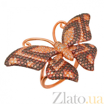 Кольцо из красного золота Бабочка с фианитами VLT--ТТ1026-3