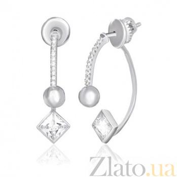 Серебряные серьги с цирконием Лоресса 000039770