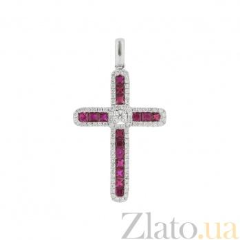 Золотой крест с рубинами и бриллиантами Любовь свыше 000026743