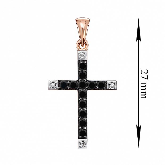 Декоративный крестик в комбинированном цвете золота с черными и белыми бриллиантами 000136307 000136307