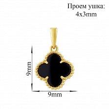 Золотой кулон в желтом цвете Лина с черным агатом в стиле Ван Клиф, 9х9мм