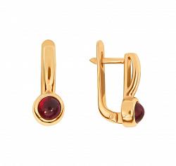 Золотые серьги Аделаида с завальцованными рубинами