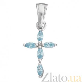Серебряный подвес-крест с голубым кварцем  3490р кварц/лондон