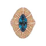 Золотое кольцо с сапфирами и бриллиантами Solomia