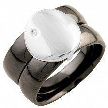 Кольцо из серебра и черной керамики Альба с кристаллом циркония