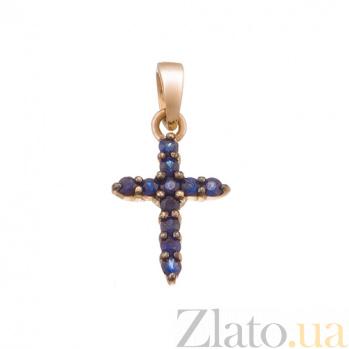 Крестик в красном золоте Сияние с сапфиром SVA--3100785201/Сапфир