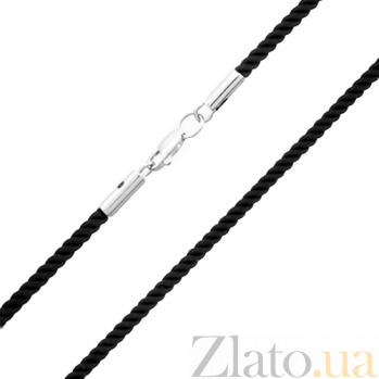 Шелковый шнурок черного цвета с серебряным замком Верона PTL--7ц081/107