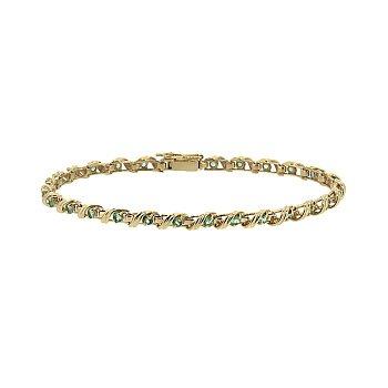 Золотой браслет в красном цвете с изумрудами, 3,5мм 000098760