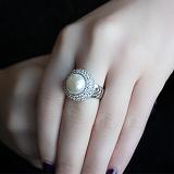 Серебряное кольцо Ардин с белым жемчугом и цирконием