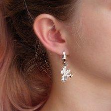 Серебряные серьги-подвески Три бабочки с золотыми накладками и фианитами