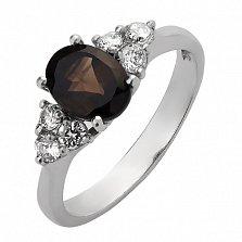 Серебряное кольцо с дымчатым кварцем и фианитами Сапфир