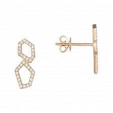 Золотые пуссеты Асимметричные восьмерки с бриллиантами