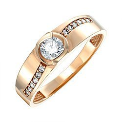Кольцо из красного золота с фианитами 000150245