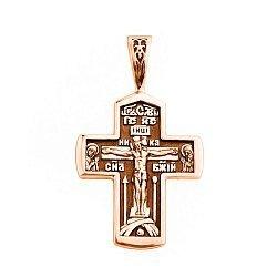 Православный крестик из красного золота с чернением 000129745