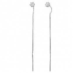 Серебряные серьги-протяжки Анфиса с фианитами