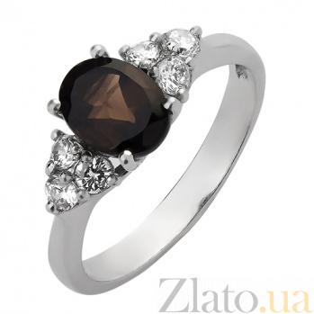 Серебряное кольцо с дымчатым кварцем и фианитами Сапфир 000023974