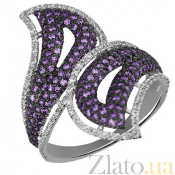 Кольцо из белого золота с фиолетовым и белым цирконием Хильда VLT--ТТ1090