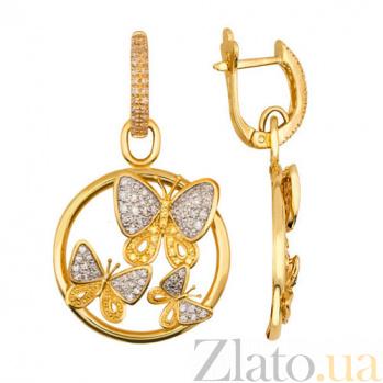 Серьги-подвески из желтого золота с белыми фианитами Весенние бабочки VLT--ТТ2271