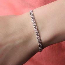 Серебряный браслет Мирена с розовым цирконием