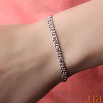 Серебряный браслет Мирена с розовым цирконием 000044859