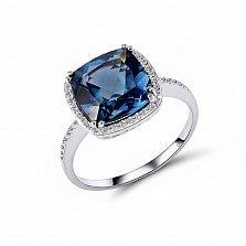 Кольцо из белого золота Шейла с бриллиантами и топазом