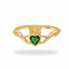 Кладдахское кольцо из красного золота Царство любви с синтезированным изумрудом