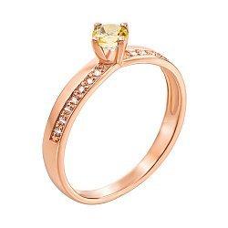 Кольцо из красного золота с цитрином и фианитами 000137487