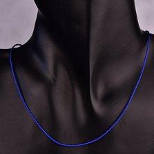 Темно-синий шелковый шнурок Бриз с серебряным замком,1мм