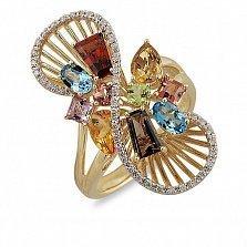 Кольцо из желтого золота Джеральдина с раухтопазом, турмалином, аметистом, хризолитом и бриллиантами