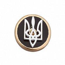 Золотой значок Национальный дух с гербом Украины и черной эмалью