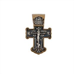 Серебряный крестик Царь Славы с чернением и позолотой и Николаем Чудотворцем на тыльной стороне 0000