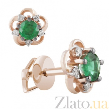 Золотые сережки Дриада с изумрудами и бриллиантами KBL--С2520/крас/изум