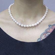 Ожерелье Елизавета с золотой застежкой, бриллиантом и белым жемчугом