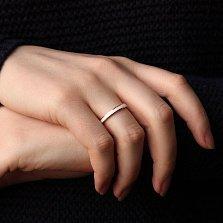 Золотое обручальное кольцо Дорога счастья с белой эмалью