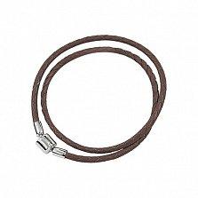 Коричневый многослойный кожаный браслет Мирра с серебряным замком, 3мм