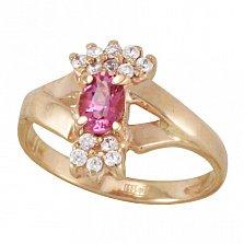 Золотое кольцо Марица с розовым турмалином и фианитами