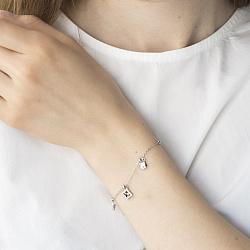 Серебряный браслет с подвесками и фианитами 000088095