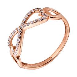 Золотое кольцо Бесконечная любовь в красном цвете с фианитами