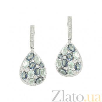 Серебряные серьги с кварцем, топазами и фианитами Идилия 3С846-0414
