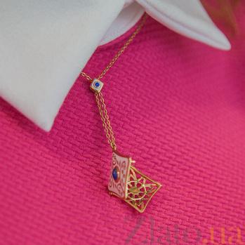 Золотой кулон Рожденные для счастья с лазуритом, сапфиром, бриллиантами и эмалью PRT--PN002