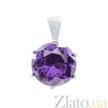 Серебряный кулон с фиолетовым цирконом Источник счастья AQA--S230540027/10A