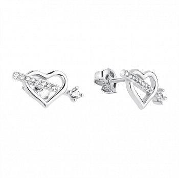 Серебряные пуссеты-сердца с фианитами 000106886