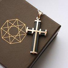 Декоративный крестик из золота с каучуком Щит