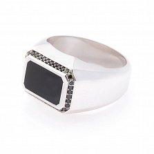Перстень в белом золоте Марк с ониксом и черными фианитами