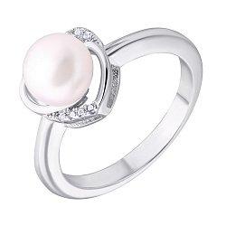 Серебряное кольцо с жемчугом и фианитами 000132592