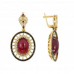 Золотые серьги-подвески Фамильная ценность с рубинами и черными и белыми бриллиантами