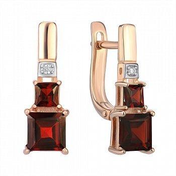 Серьги из красного золота с гранатами и цирконием 000142383