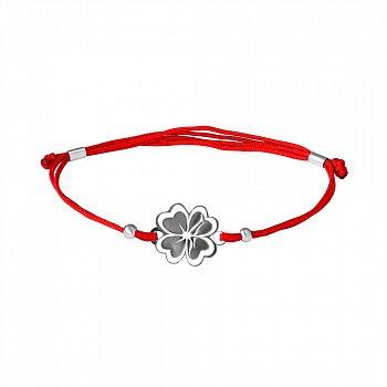 Шелковый браслет с серебряной вставкой Клевер 000017545