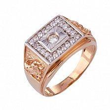 Золотое кольцо-печатка с фианитами Саид