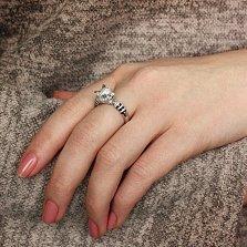 Серебряное кольцо Личный зверь с эмалью и фианитами в стиле Картье